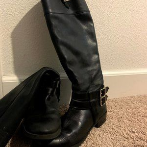 INC Black Leather Boots
